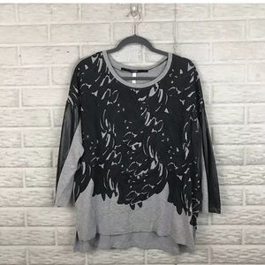 Kensie Faux Leather Sleeve Panel Sweater